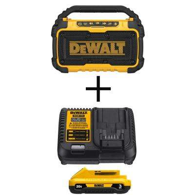 20-Volt MAX Lithium-Ion Bluetooth Speaker (Tool-Only) with Free 20-Volt MAX Battery 3.0Ah & Charger