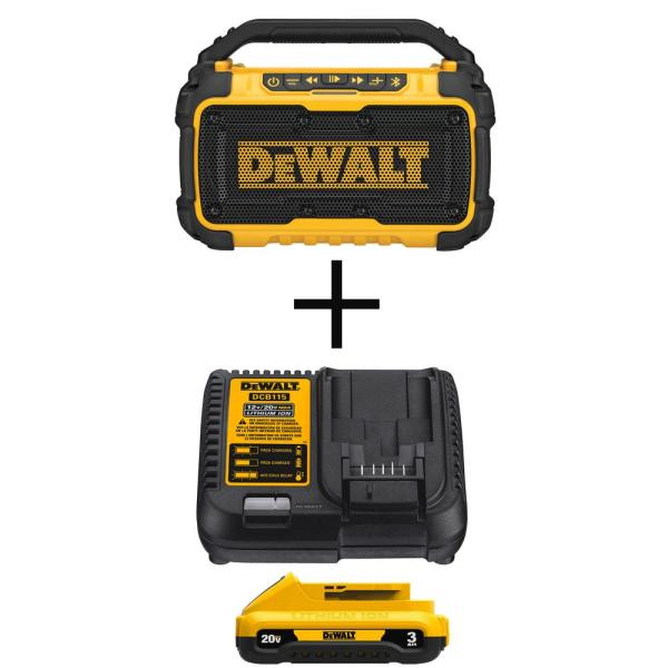 DEWALT 20-Volt MAX Bluetooth Speaker With With Bonus 20-Volt MAX 3.0 Ah Battery and Charger
