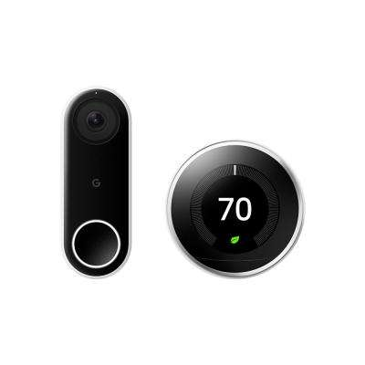 Nest Hello Video Doorbell + Nest Learning Thermostat 3rd Gen Polished Steel