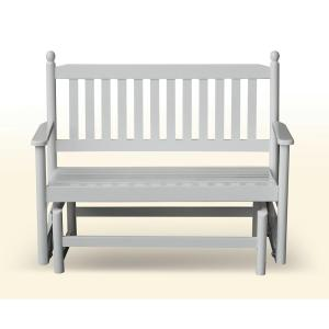 Hinkle Chair Company 2-Person White Wood Outdoor Patio Glider by Hinkle Chair Company