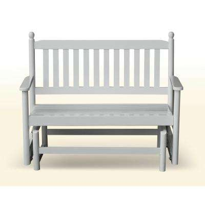 2 Person White Wood Outdoor Patio Glider