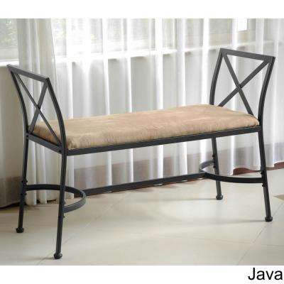 International Caravan Black Mat Iron Foot-of-Bed Bench with Java Micro-suede Cushion