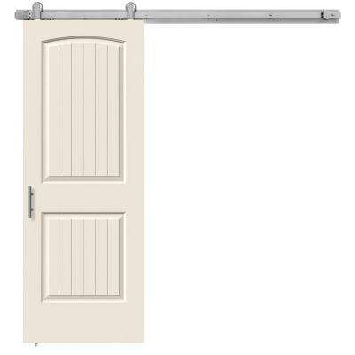 30 in. x 84 in. Santa Fe Primed Smooth Molded Composite MDF Barn Door with Modern Hardware Kit