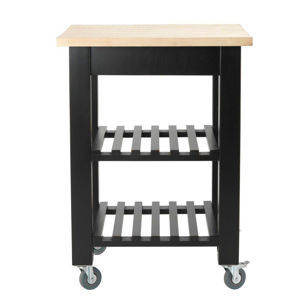Home Decorators Collection Thomas Antique Black 24 in. W Kitchen Cart with Shelves
