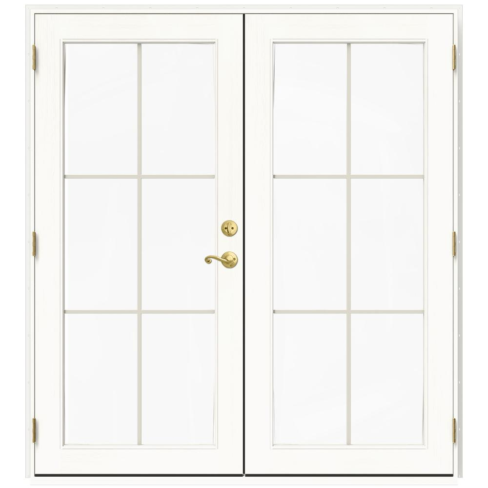 72 in. x 80 in. W-2500 White Clad Wood Right-Hand 6