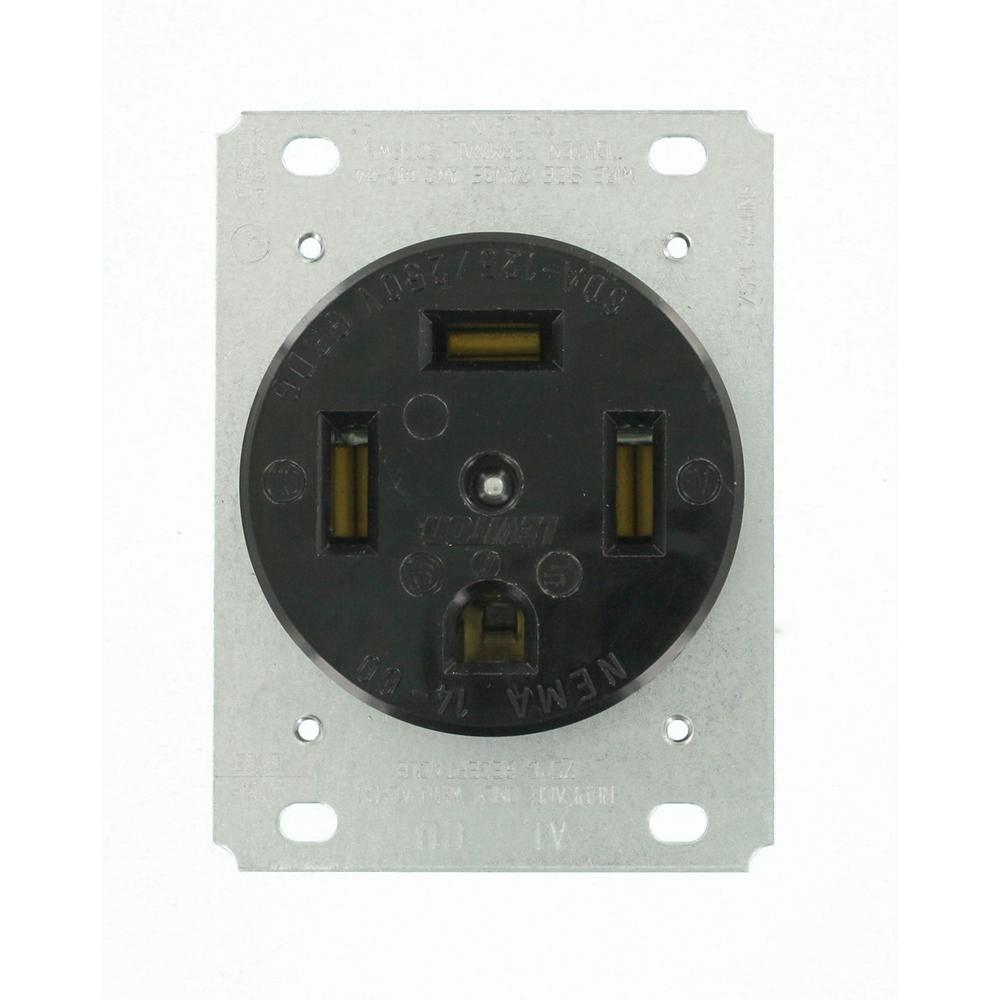 Leviton 60 Amp 125/250-Volt Flush Mounting Grounding Outlet, Blade ...