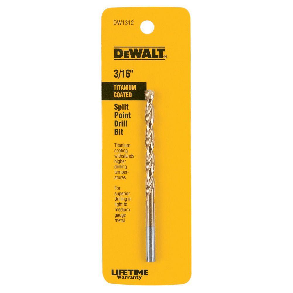 DEWALT 3/16 in. Titanium Drill Bit Split Point