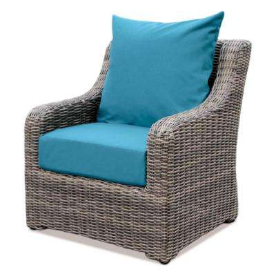 Cherry Hill Plastic Outdoor Lounge Chair with Spectrum Peacock Cushion