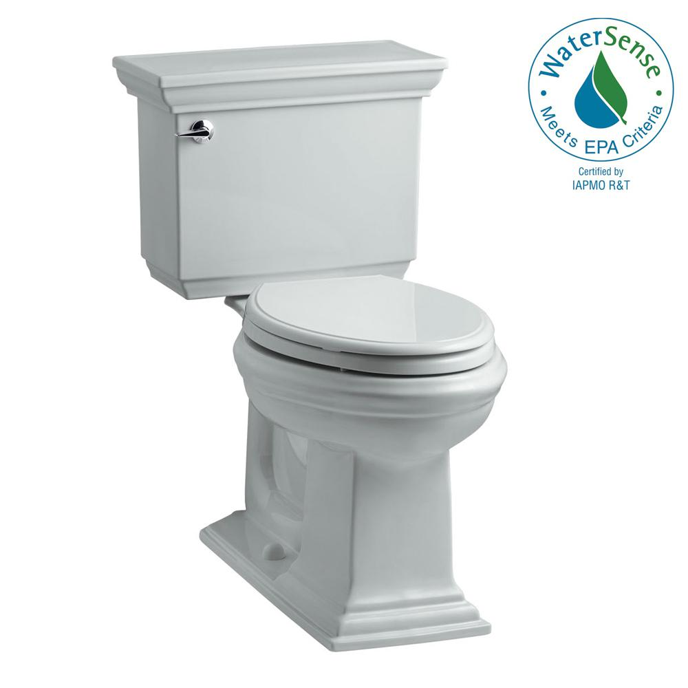 KOHLER Memoirs Stately 2-piece 1.28 GPF Single Flush Elongated Toilet with AquaPiston Flush Technology in Ice Grey