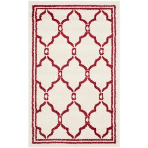 Amherst Ivory/Red 3 ft. x 4 ft. Indoor/Outdoor Area Rug