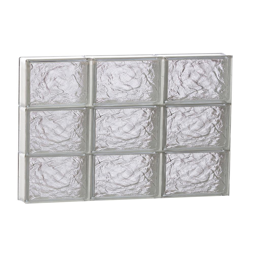 Clearly Secure 23.25 in. x 17.25 in. x 3.125 in. Frameless Ice Pattern Non-Vented Glass Block Window
