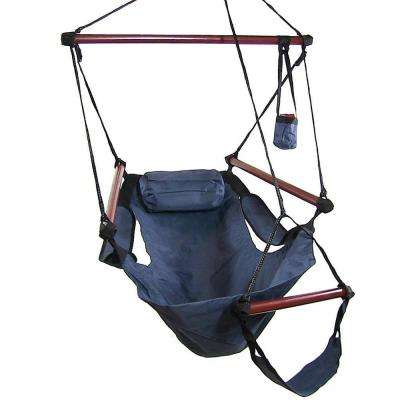 3.75 ft. Fabric Hanging Hammock Chair with Pillow and Drink Holder in Blue