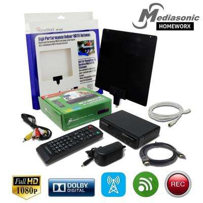 HOMEWORX Digital Converter Box (Compact Edition) with TV Tuner Recording, Media Player, Flat Antenna and HDMI Cable