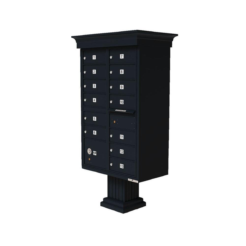 Vital 13-Mailboxes 1-Parcel Locker 1-Outgoing Pedestal Mount Cluster Box Unit