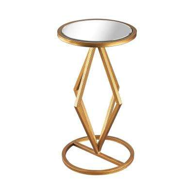 Vanguard Gold Leaf and Clear Mirror Side Table