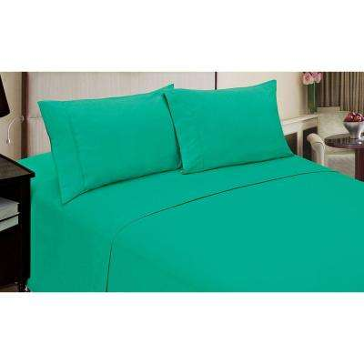 Jill Morgan Fashion Solid Lime Microfiber Queen Sheet Set (4-Piece)