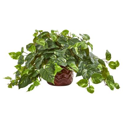 Indoor Pothos Artificial Plant in Design Red Vase