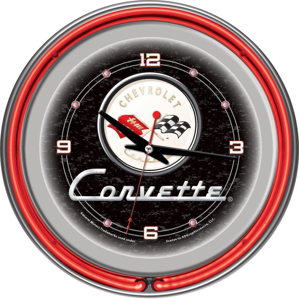 14 in. Black Corvette C1 Neon Wall Clock