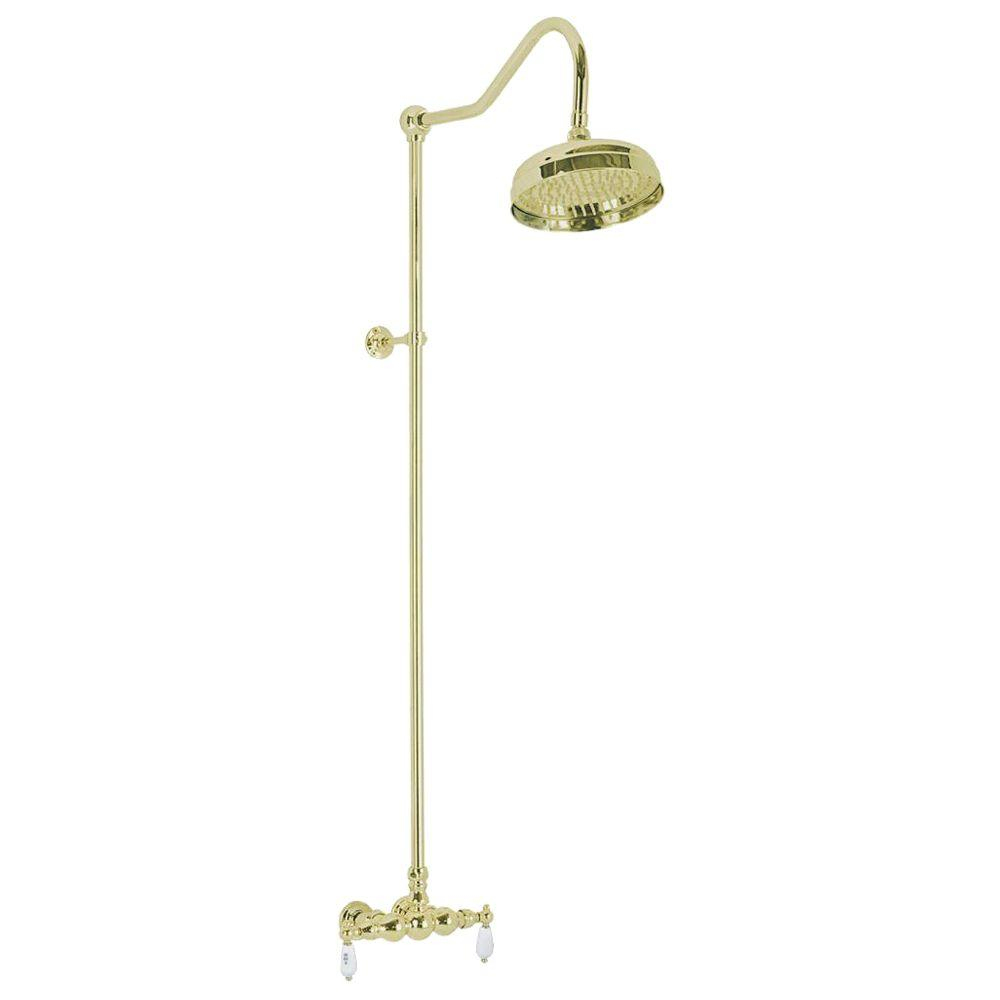 Elizabethan Classics 2-Handle 1-Spray Wall-Mount Exposed Tub and Shower Faucet with Hot and Cold Levers in Polished Brass (Valve Included)
