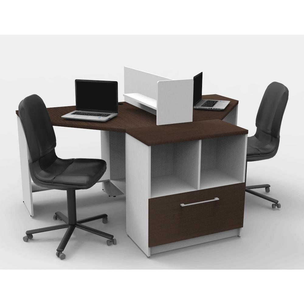 4-Piece White/Espresso Office Reception Desk Collaboration Center