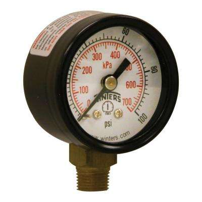 PEM Series 1.5 in. Black Steel Case Brass Internals Pressure Gauge with 1/8 in. NPT LM and 0-100 psi/kPa
