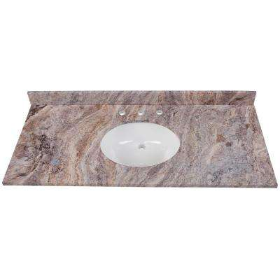 49 in. W x 22 in. D Stone Effects Vanity Top in Cold Fusion with White Sink