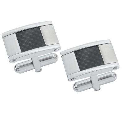 Orion Carbon Fiber Brushed Stainless Steel Cufflinks