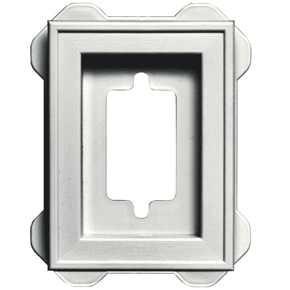 Builders Edge 4.5 in. x 6.3125 in. #123 White Recessed Mini Mounting Block