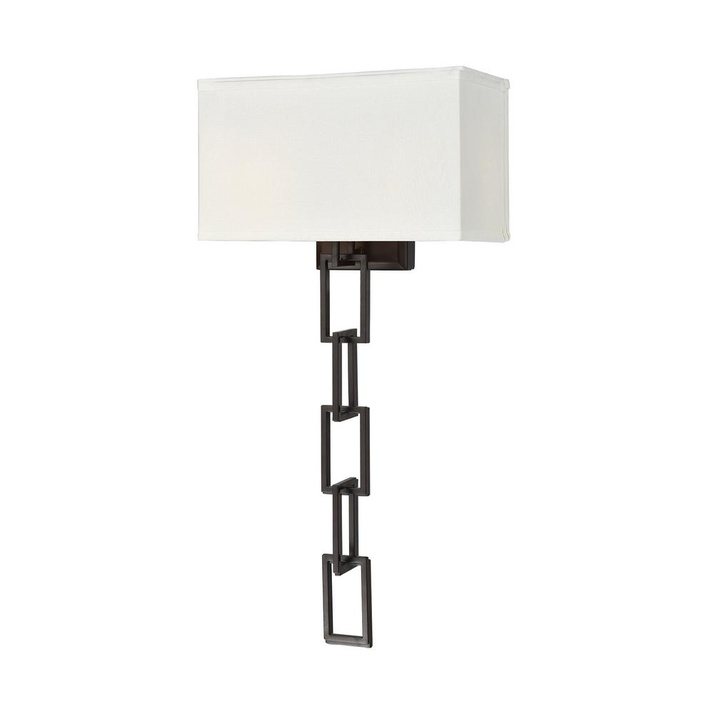 An Lighting Anchorage 2 Light Oiled Bronze Sconce With Ecru Fabric Shade