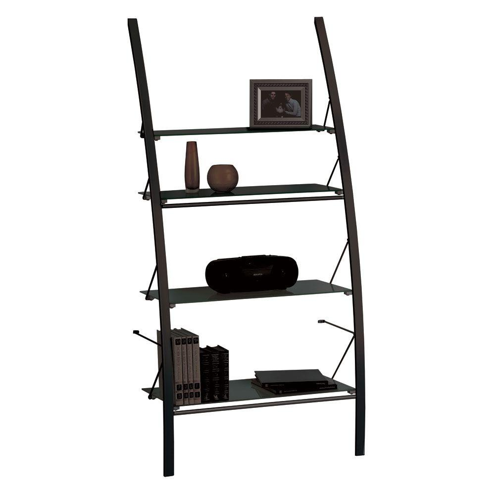 Filament Design Catherine 4-Shelf Bookcase with Frosted Glass in Black