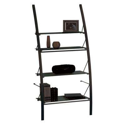 Catherine 4-Shelf Bookcase with Frosted Glass in Black