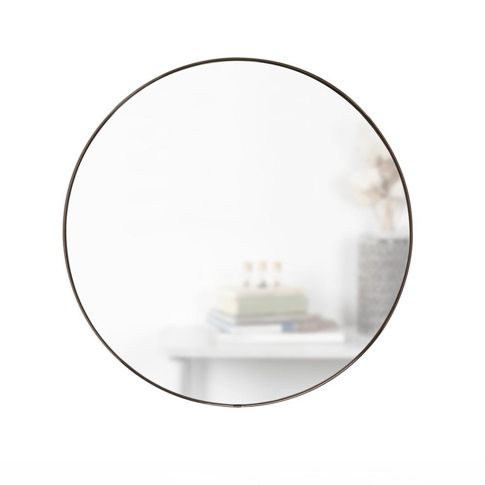 Small Round Metallic Titanium Contemporary Mirror (1 in. H x 34 in. W)