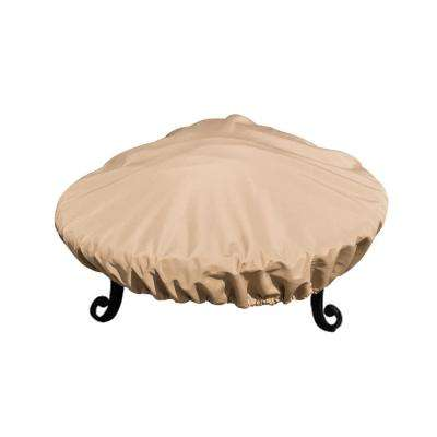 Sandstone Fire Pit Cover All-Weather Protective Cover with Draw Strings for 29 in. to 32 in. Fire Pits