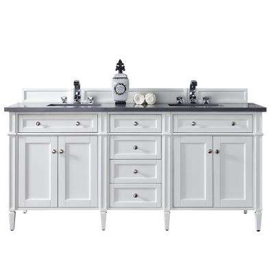 Brittany 72 in. W Double Vanity in Cottage White with Quartz Vanity Top in Gray with White Basin