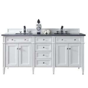 James Martin Signature Vanities Brittany 72 inch W Double Vanity in Cottage White with Quartz Vanity Top in Gray with... by James Martin Signature Vanities