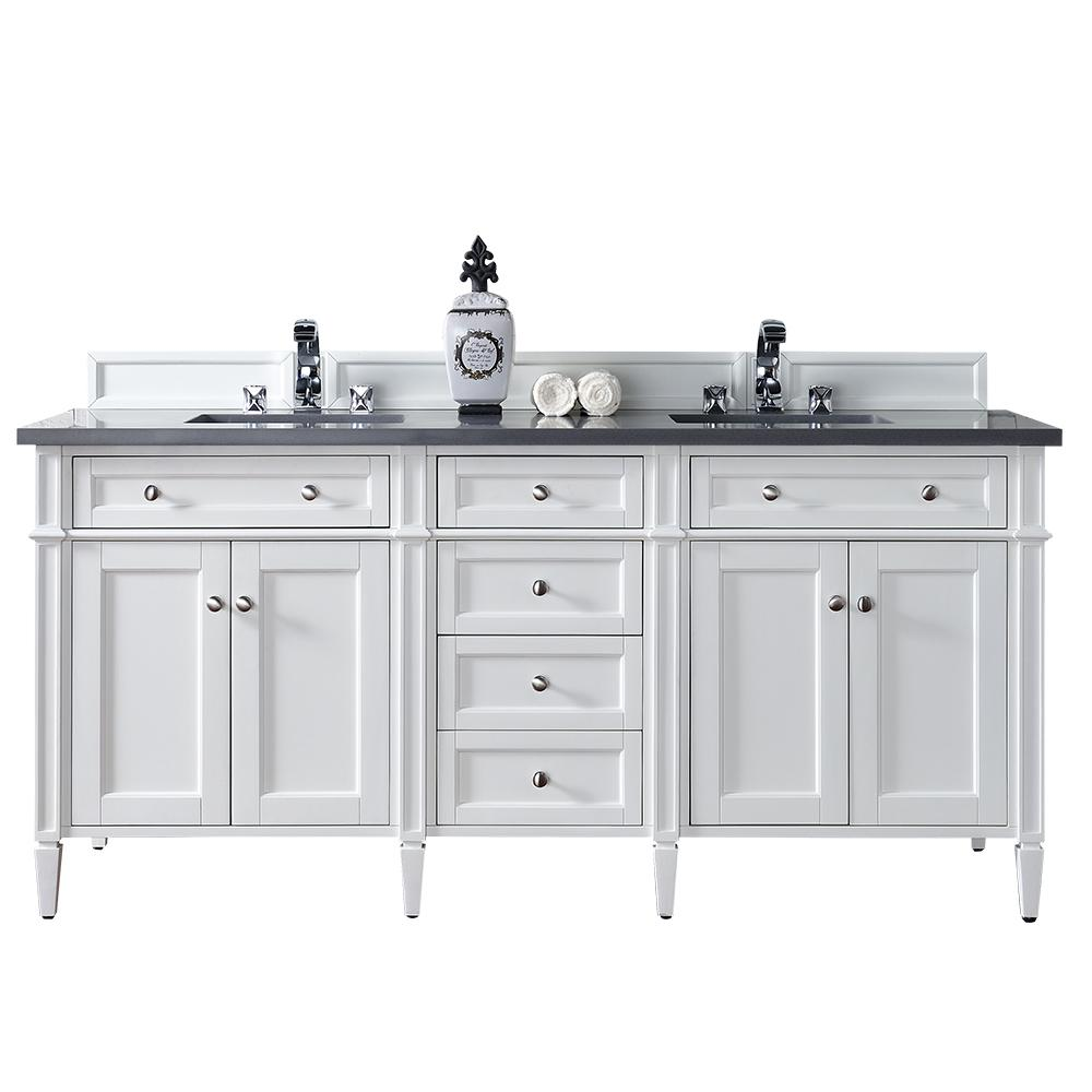 James Martin Vanities Brittany 72 In W Double Vanity Cottage White With Quartz Top Gray Basin