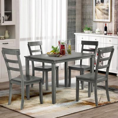 5-Piece Gray Solid Wood Dining Set