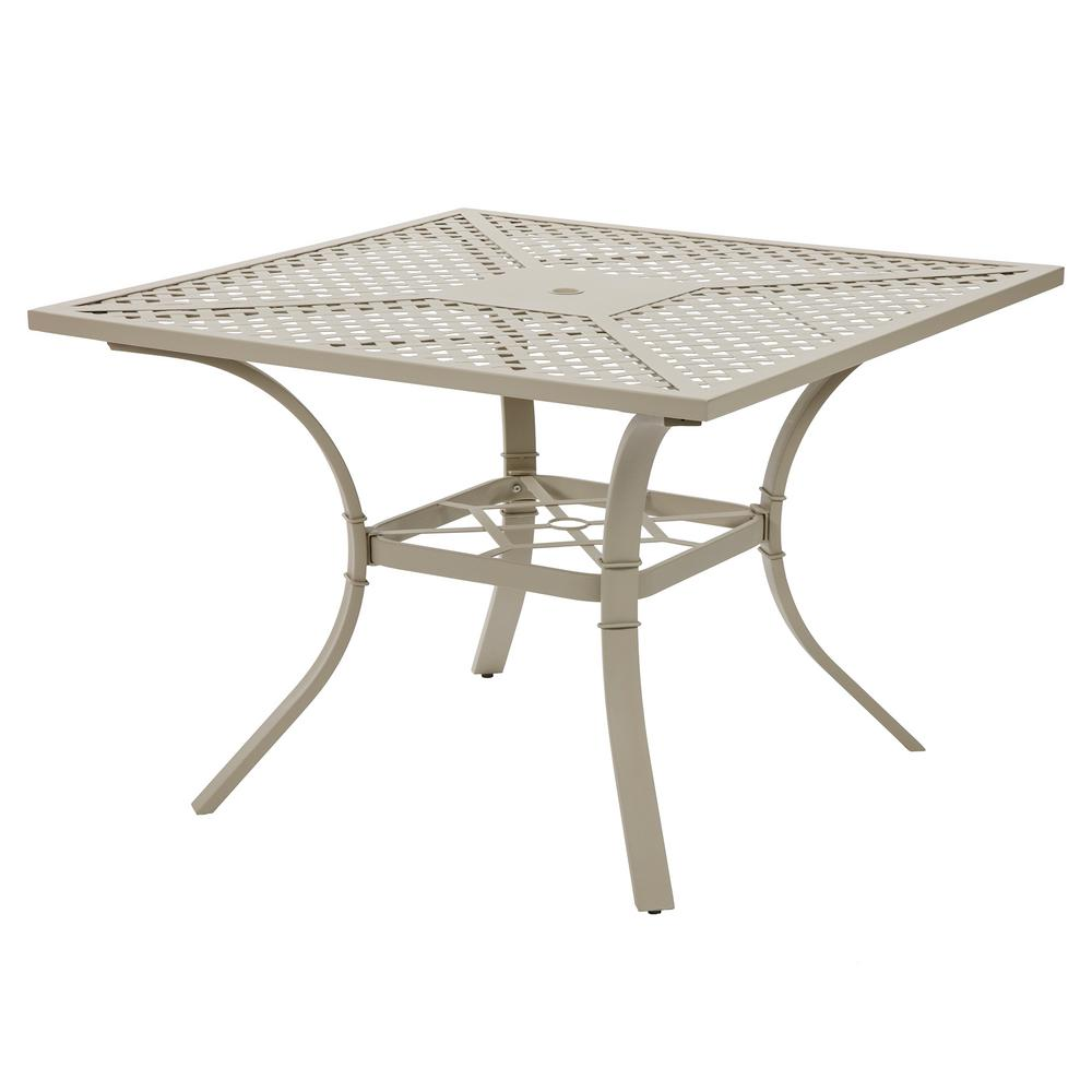 Bombay Outdoors Valencia Ivory Square Metal Patio Outdoor Dining Table A100059    The Home Depot