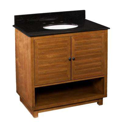Jameson 34.3 in. W x 22.3 in. D Bathroom Vanity in Dark Aged Oak with Black Granite Vanity Top with White Basin