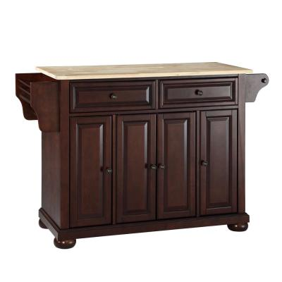 Alexandria Mahogany Kitchen Cart with Wood Top