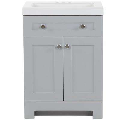 Everdean 24.5 in. W x 19 in. D x 34 in. H Vanity in Pearl Gray with Cultured Marble Vanity Top in White with White Basin