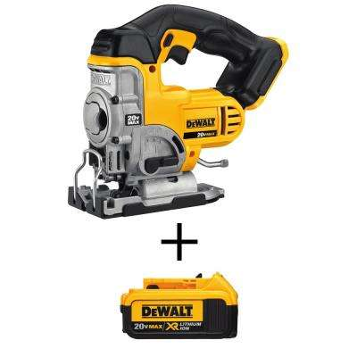 20-Volt MAX Lithium-Ion Cordless Jig Saw with Free Premium Battery Pack 4.0 Ah