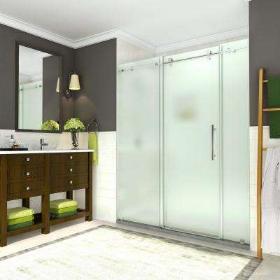 Coraline 68 - 72 in. x 76 in. Completely Frameless Sliding Shower Door w/ Frosted Glass in Polished Chrome