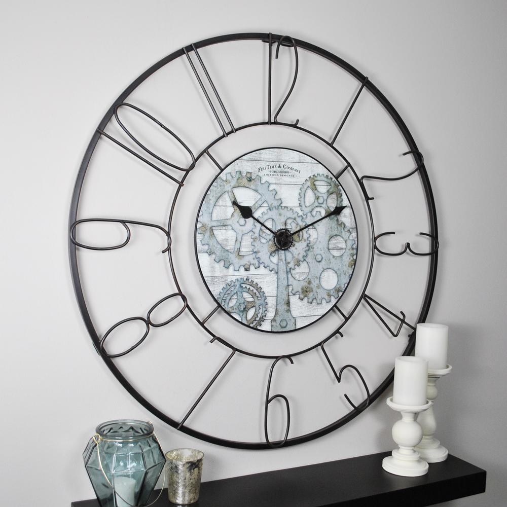 Fulshaw Gears Black Wall Clock