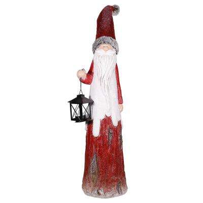 36 in. Christmas Country Santa with Tea Light Candle Holder