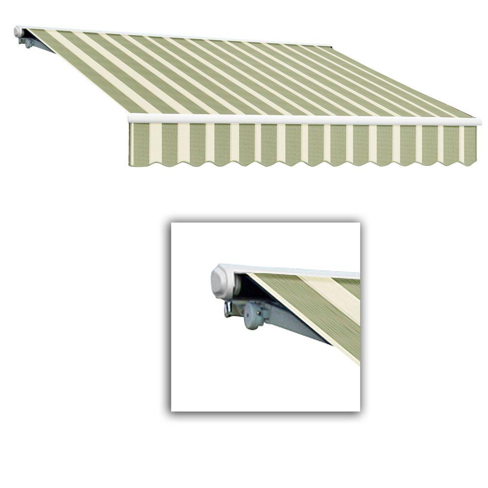 AWNTECH 12 ft. Galveston Semi-Cassette Right Motor with Remote Retractable Awning (120 in. Projection) in Sage/Cream