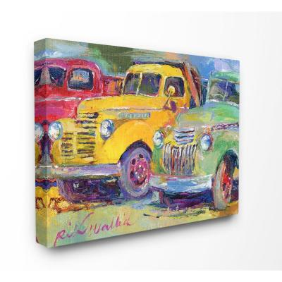 "30 in. x 40 in.""Vibrant Red Yellow and Green Pickup Trucks Painting"" by Artist Richard Wallich Canvas Wall Art"