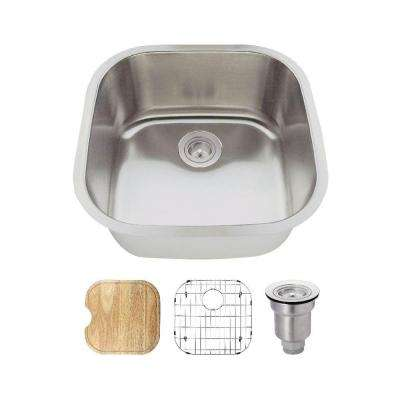All In One Undermount Stainless Steel 20 In. Single Bowl Bar Sink