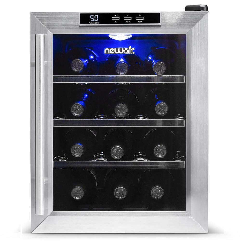 NewAir Premium Single Zone 12-Bottle Freestanding Cellar Thermoelectric Control Refrigerator Wine Cooler - Stainless Steel