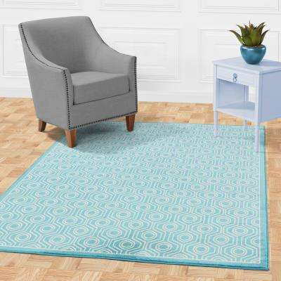 Alpina Collection Blue and Ivory 5 ft. 3 in. x 7 ft. 3 in. Moroccan Trellis Area Rug